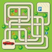 Labyrinth education game for children with car Vector illustration