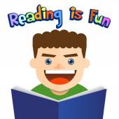 Little boy reading a book with happy faces vector illustration
