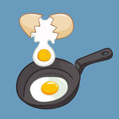 Frying eggs using frying pan vector illustration