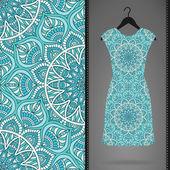 Karta s šaty a bezešvé vzor. ročník dekorativní prvky. Odevzdejte vypracované pozadí