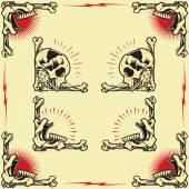 Skull and Rose Frames in old school tattoo style set 02
