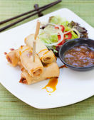 Spring rolls with vegetables, mango chili sauce