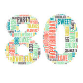 Word Cloud - Happy Birthday Celebration colorful wordclouds about celebrating your 80th birthday blue green yellow pink grey Eighty