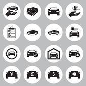 Auto-Verkauf und Vermietung Auto Symbole Satz