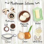 Vector ingredients for mushroom julienne Mushroom Julienne Vector illustration
