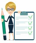 Businesswoman or Teacher Holding a Document in Which All Approved Validated Agreed and big green pencil The Document Put the Green Check Mark Flags Vector Illustration