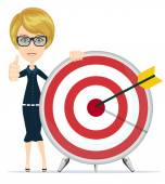 Successful student and teacher showing victory sign holding a a target with arrow Stock Vector illustration