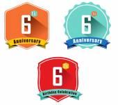 6 year birthday celebration flat color vintage label badge 6th anniversary decorative emblem - vector illustration eps10