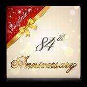 84 year anniversary celebration golden ribbon 84th anniversary decorative golden invitation card vector eps10
