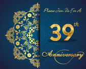 39 year anniversary celebration pattern design 39th anniversary decorative Floral elements ornate background invitation card