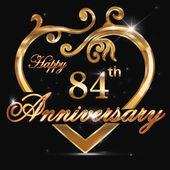 84 year anniversary golden heart 84th anniversary decorative golden heart design - vector eps10