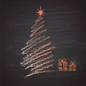 Chalk painted illustration of pastel abstract Christmas tree and gift boxes Happy New Tear theme Card design