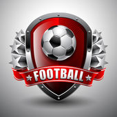 Soccer ball on background of the shield and stars