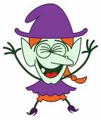 Green witch in minimalist style with long red hair and big nose wearing a huge purple hat while clenching her eyes laughing enthusiastically and jumping as for celebrating something