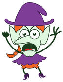 Brave green witch in minimalist style with long red hair and big nose wearing a huge purple hat showing an angry mood