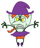 Angry green witch in minimalist style with long red hair and big nose wearing a huge purple hat showing a scary and intimidating mood