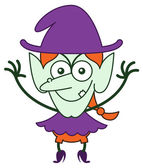 Green witch in minimalist style with long red hair and big nose wearing a huge purple hat smiling and showing a mischievous mood