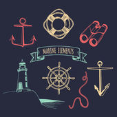 Marine set Vector nautical elements Hand drawn nautical set Sea illustration hand sketched Vintage nautical adventures set Marine sketches collection Nautical design elements