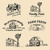 Vector retro set of farm fresh logotypes Vintage farm logo collection