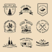 Vector set of vintage camping logo Retro logotypes collection of outdoor adventures