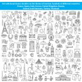 Vector set of hand drawn doodles on the theme of tourism Symbols of different countries of Europe and Asia Sketches for use in design web site packing textile fabric