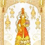 Постер, плакат: Bride saukele girl Kiz kyzuzatu invitation wedding card greeting card template veil Kazakh suit ethnicity