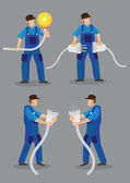 Funny cartoon electricians wearing blue overall work clothes and holding oversized light bulb electrical male plugs and female jacks