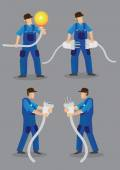 Funny cartoon electricians wearing blue overall work clothes and holding oversized light bulb electrical male plugs and female jacks Vector illustration isolated on plain grey background