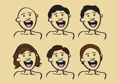 Vector illustration of happy people in different hair style