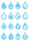 Set of water drops with symbols vector illustration Set of blue and white icons isolated on white background