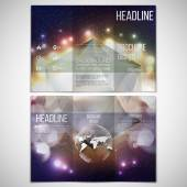 Vector set of tri-fold brochure design template on both sides with world globe element Abstract multicolored background with bokeh lights and stars Scientific or digital design science vector