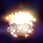 Abstract multicolored backgrounds with bokeh lights and stars Vector 3D pyramids scientific or digital design science vector illustration