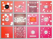 Set of 12 creative cards square brochure template design White paper hearts red vector background Valentines day decoration