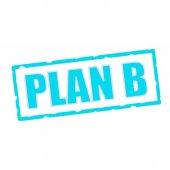 Plán b znění otlučené modré obdélníkové cedule