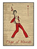Page of wands Full colorful deck minor arcana The old tarot card vintage hand drawn engraved illustration with mystic symbols Handsome man dancer or leader with one hand up victory pose