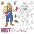 Постер, плакат: Set with pest control exterminator