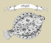 Drawing with flatfish or plaice and vignette banner hand drawn graphic vector illustration
