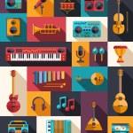 Постер, плакат: Set of modern flat design musical instruments and music tools ic