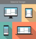 Flat modern responsive material web design on various electronic devices