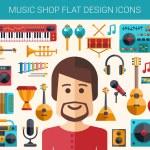 Постер, плакат: Set of modern flat design musical instruments and music tools icons