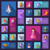 Illustration of set of fairy tales flat design magic vector icons and elements