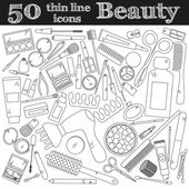 Tools for makeup Set of 50 cosmetic icons in thin line Vector collection for beauty design