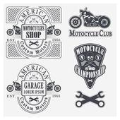 Set di moto depoca etichette, scudetti ed elementi di design