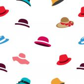 Seamless vector pattern of different colored hats on a white background