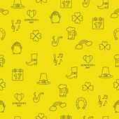 Seamless vector pattern of the icons St Patrick on a yellow background