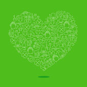 Heart of icon of St Patrick Excellent gift card Vector illustration on a green background