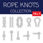 Vector rope knots collection Overhand figure of eight and square knot Seamless decorative elements
