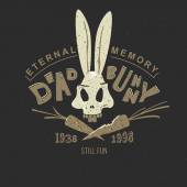Funny vintage drawing for a tattoo or print on t-shirt or clothing: cartoon skull bunny skeleton