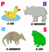 Spanish alphabet with different animals: duck armadillo rhino and frog