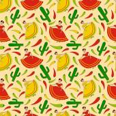 Funny vector seamless pattern with happy dancing mexican women cactus and green yellow and red chili peppers